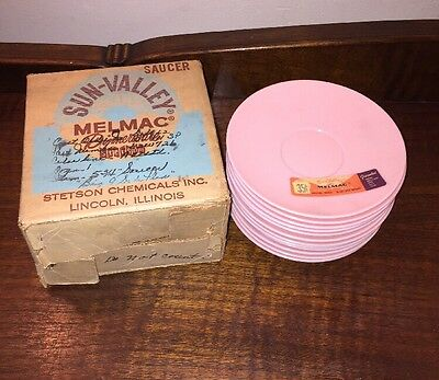 "Sun Valley Melmac 5 3/4"" Saucers 12 pcs. Pink Chicago USA In Original Box NOS"