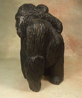 Vintage Carved Wooden Mother Gorilla Carries Baby  sculpture animal