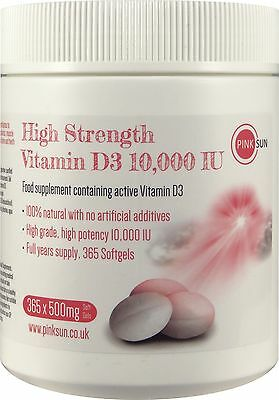 High Strength Vitamin D3 10000iu Cholecalciferol 365 Vit D Soft Gel Capsules 1Yr