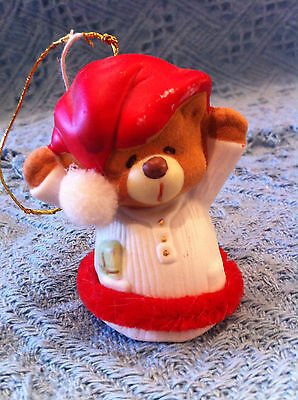 New Teddy Bear In Red/white Nightshirt Christmas Bell/ornament