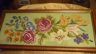 Vintage Floral Framed Cross Stitch Embroidery Art- Roses Lilies Daffodils & More