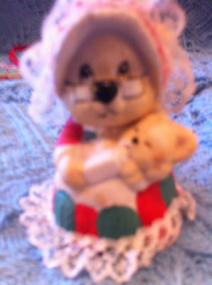 New Teddy Bear In Red/green Dress Holding Baby Bear Christmas Bell/ornament