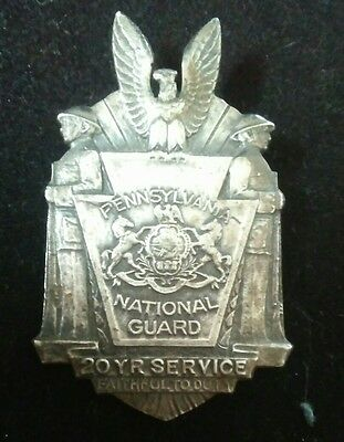 *sterling* Pennsylvania National Guard 20Yr Service Faithful To Duty Medal