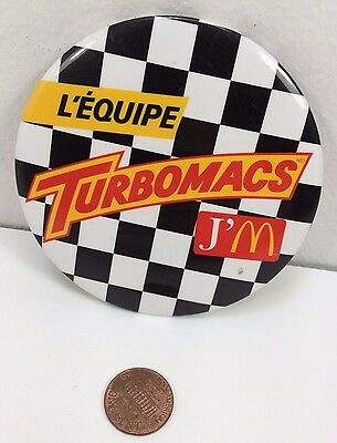 Vintage Mcdonalds Turbomacs Racing Canadian button pinback badge collectible pin