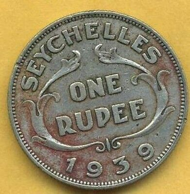 Very Attractive, Vintage 1939 Silver Seychelles One Rupee.