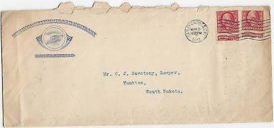 1911 Union Lithograph Company advertising cover with imperf  Two Cent stamps