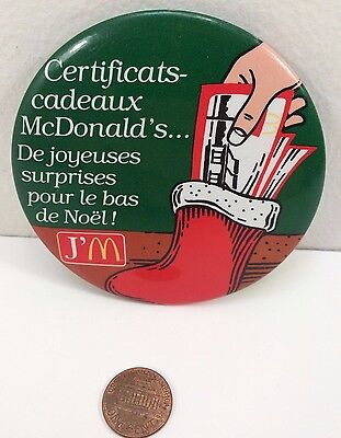 Vintage Mcdonalds Christmas Gift Certificates Canadian button pinback badge