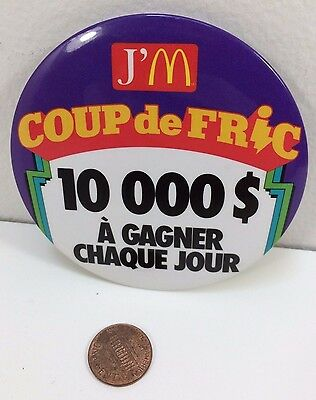 Vintage Mcdonalds Money Mania 10000$ Contest, Canadian button pinback badge