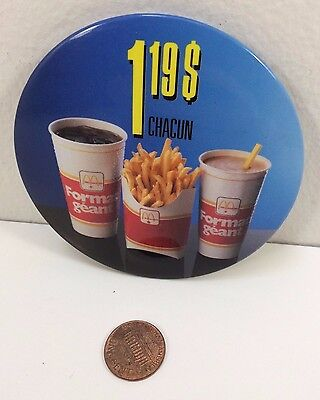 Vintage Mcdonalds 1.19$ Large Format (Super Size), Canadian button pinback badge