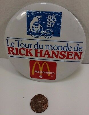 Vintage Mcdonalds 1985-87 Rick Hansen World Tour Canadian button pinback badge