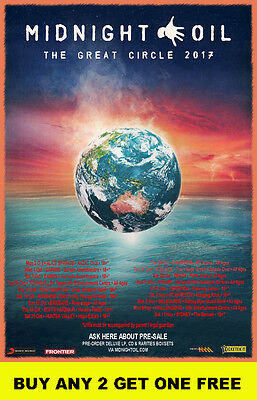 MIDNIGHT OIL  2017 The Great Circle Australian  Laminated Tour Poster