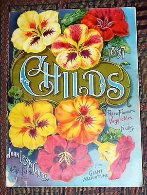XRARE 1897 Childs Seed & Flower & Fruit catalog Floral Park NY chromolithographs