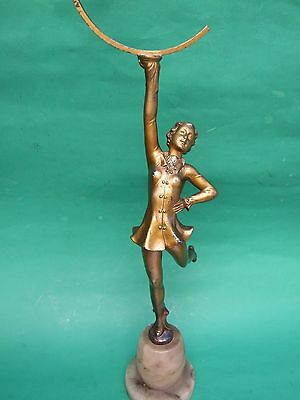 Antique Art Deco Gold Spelter Dancer Figurine on Marble Base 1930's