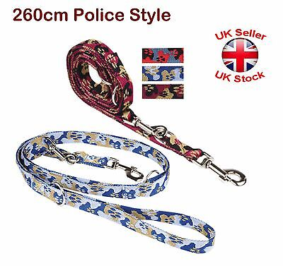 """260 cm Strong Police Style Long Dog Training Lead Leash  Adjustable """"3 Colours"""""""