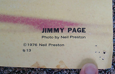 RARE 1970s DATED AUTHENTIC Jimmy Page LED ZEPPELIN 1976 NEAL PRESTON Poster