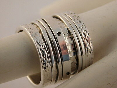 Wide 5 Band Sterling Silver Hammered Spinner Ring Mexico Sz 6 1/2 925 Extra Wide