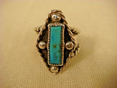Turquoise Sterling Ring Navajo Artisan Handcrafted Sz 9.5  Silver 925