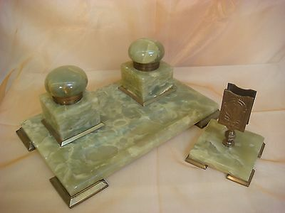 Marble Double Ink Well Desk Set Two Piece Letter Holder Brass Trim Vintage Stone