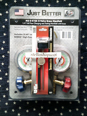 JB INDUSTRIES M2-5-410A Gauge Manifold with 5' Kobra Hoses & Digital Thermometer