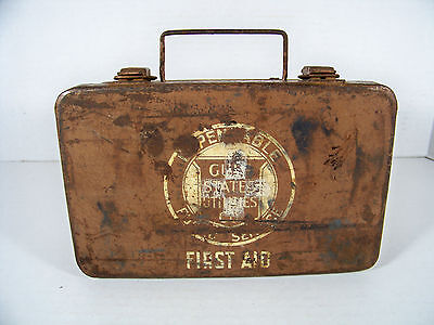 Vintage Gulf States Utilities Metal First Aid Box Kit Distressed Rusted