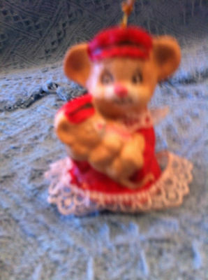 New Teddy Bear In Red Dress Holding Baby Bear Christmas Bell/ornament