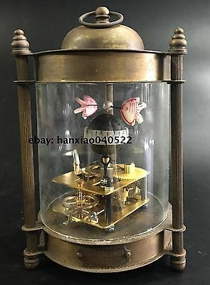 Chinese Bronze Fish Watch Mechanical Table Clock Decorations Statue