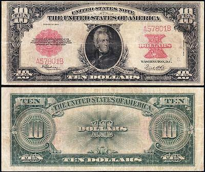 """NICE *RARE* 1923 $10 """"POKERCHIP"""" US Legal Tender Note! FREE SHIPPING! A57801B"""