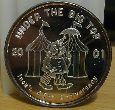 2001 Mobile,Order of Incas ~ .999 Silver Mardi Gras Doubloon~  UNDER THE BIG TOP