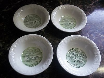 4 Taylor Smith Taylor Pastoral Fruit Dessert Sauce Bowl White Green Embossed VG!