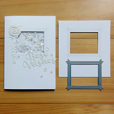 Die-Namics Peek-A-Boo Stitched Window Rectangle Cutting Die - Bnip