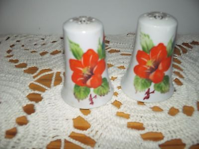 Vintage...estate.....morning Glory...flowered....salt & Pepper Shakers