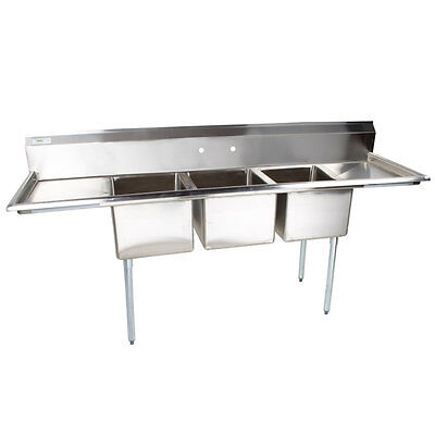 """91"""" Stainless Steel 3 Compartment Commercial Sink with 2 Drainboards"""