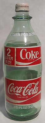 Vintage 2 Liter (67.6 oz.) 1970's Coke Coca-Cola Green Glass Bottle w/Lid