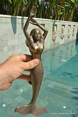 "large LEFT MERMAID solid brass door PULL old style heavy house handle 15"" aged"