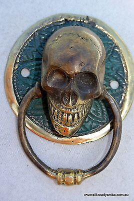 SKULL handle pull small solid BRASS old look SCREW Drawer door amazing NEW 3""