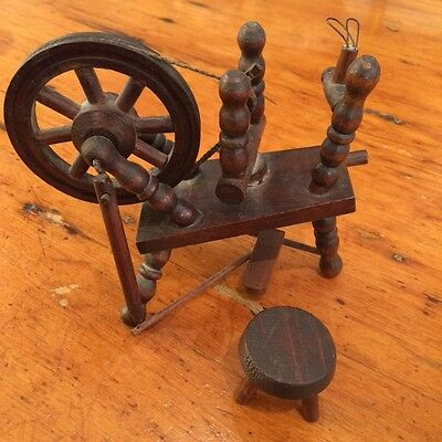 Antique wood Spinning Wheel Primitive Childs Salesman Sample Smaller size