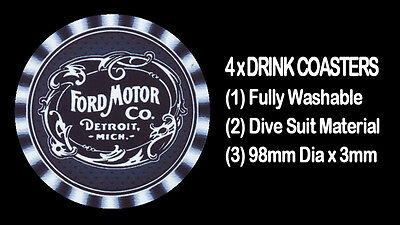 4  x  EARLY FORD LOGO,  MOTORCAR CAR , DRINK COASTERS - Fully Washable