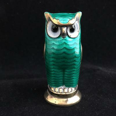 DAVID ANDERSON NORWAY 1950's ST SILVER and ENAMEL OWL PEPPER SHAKER