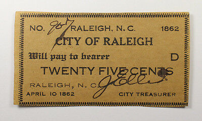 City Of Raleigh North Carolina 25 Cents Obsolete Banknote 1862 Au-Unc 029
