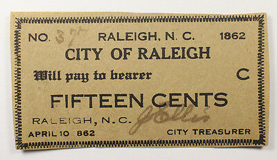 City Of Raleigh North Carolina 15 Cents Obsolete Banknote 1862 Ef-Au 030