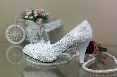 High heels white ivory lace Wedding shoes Bridal heels women hight pumps size A