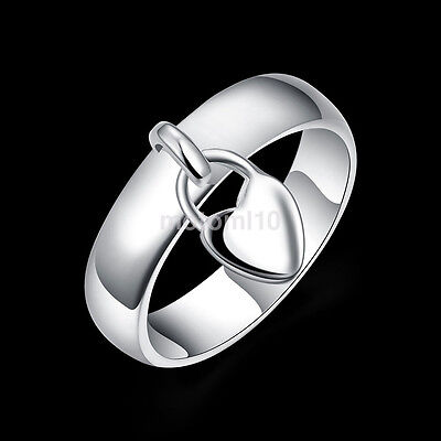 New Women Fashion Charm Silver Chic Heart Lock Band Solid Ring Jewelry Dangle US