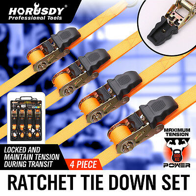 4PC Ratchet Tie Down Strap 25mm x 4m Nylon Cargo Trailer Motorcycle Packing