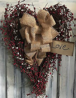 "18"" Primitive Country Valentines Heart Grapevine Wreath"