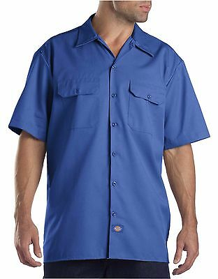 New Dickies Men's L Large Short Sleeve Twill Work Shirt Royal Blue NWT