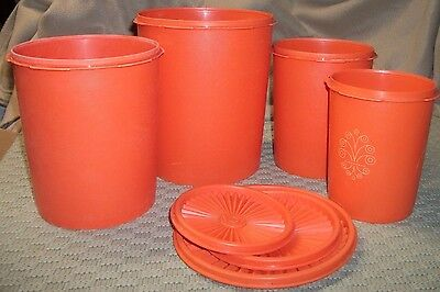 Vintage Bright Orange Tupperware Canister Set; 4 Canisters, 3 Lids, GUC