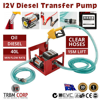 NEW 12V Diesel Oil Transfer Fuel Pump Commercial Motor Series Bowser Auto Nozzle