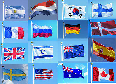 New 3'x5' FT World Country National Polyester America France Israel Spain Flags