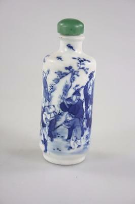 CHINESE ANTIQUE 19thc. 'YUNG ZHENG' PORCELAIN HAND PAINTED SNUFF BOTTLE marked