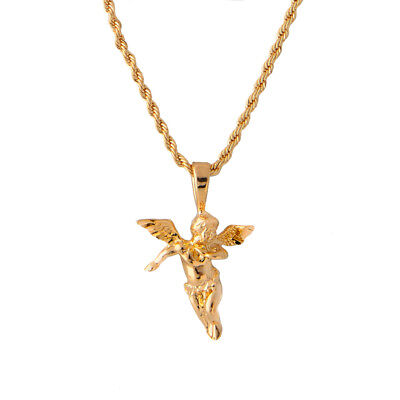 18K Gold Plated Rope Chain With Angel Pendant -LIFETIME WARRANTY- Made In USA